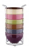Müslischalen-Set 7-tlg. - Keramik - 6 Schalen im Ständer - Müsli Schale - Müslischüssel - Dessertschale - Schale - Schüssel