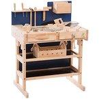 Ultrakidz Kinder-Werkbank aus Massivholz mit Werkzeug-Set und Werkzeugkiste, Natur