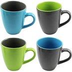 COM-FOUR 4x Kaffeebecher, 325 ml, Steingut, Kaffeetasse, Kaffeepott, blau/grau, grau/blau, grün/grau, grau/grün
