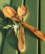 Salatbesteck PRIMAVERA, ca. 30 cm - Olivenholz geölt. Feine Maserung, handwerkliche Verarbeitung. Original FIGURA SANTA Manufaktur.