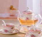 Europäischen Stil Pastoral Blumen Rose Knochenporzellan Keramik Teeservice Und Teeservice 6 Tlg