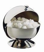 APS Edelstahl Zuckerdose mit Rolldeckel Ø13,5 cm, Höhe 15 cm, mit Chromgriff