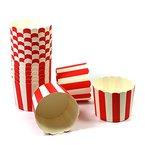 50 Frau Wundervoll Muffin Backformen aus stabilem Papier, groß Ø 6,1 cm, rot-weiße Streifen / Muffinförmchen / Cupcake Backformen / Muffindeko Frau Wundervoll