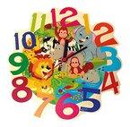Hess Holzspielzeug 30011 Kinderwanduhr Dschungeltiere aus Holz, Durchmesser Circa 21 cm