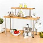 bremermann® Küchenregal, Eckregal aus Bambus und Edelstahl mit Haken