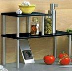 Zweistufiges Küchenregal Regal Küchenablage Küchenleiste Edelstahl Metall H32cm (Schwarz/Silber)