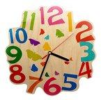 Hess Holzspielzeug 30002 Kinderwanduhr Schmetterlinge aus Holz, Durchmesser 21 cm