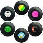 """Set von 6 Untersetzer, SENHAI Retro Vinyl Record Matten Tischsets für Kalt-Heißgetränke, Anti-Rutsch-Tabletop-Schutz verhindert Rutschen - 4.1 """""""