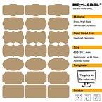 Mr-LABEL® Arten von Fancy Form Braun Kraft Etiketten -Self Adhesive Aufkleber für Geschenk-Dekoration   Hand craft   Finishing Touch   Flaschen (Größe: 63.5 * 38.1mm (10 Blatt / total 210 Labels)
