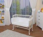 WALDIN Baby Beistellbett mit Matratze und Nestchen, 8 Modelle wählbar, weiß lackiert,weiß