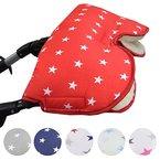 Babys-Dreams MUFF mit Lammwolle *STERNE* kuscheliger Handwärmer - Muff für Kinderwagen , Buggy, Radanhänger - WOLLE - (Rot Weiße Sterne)