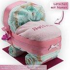 Windeltorte / Windelwagen rosa für Mädchen - inkl. besticktem Lätzchen mit Wunschname + gratis Grußkärtchen