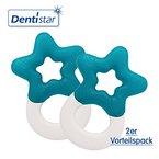 Dentistar® Beißring kühlend im 2er-Set - Stern - Zahnungshilfe Blau für Babys ab 3 Monate - Kühlbeißring Baby wassergefüllt - Made in Germany