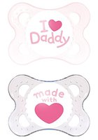 MAM Babyartikel 67633800 Original Silikon I love Daddy, girl, 0 - 6 Monate, Doppelpack