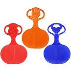 COM-FOUR® 3x Schneeflitzer Schneerutscher Rutscher Schlitten mit Motiv im Griff in verschiedenen frischen Farben (3 Stück - Motiv)