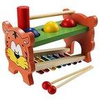 Arshiner Hammerbank Xylophon und Hammerspiel Kinder Klopfen Spielzeug Percussionset Baby Schlagzeug Spielzeug verbindet mit Musiktaste Selecta Battino Süßer Tigermuster