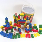Große BAUSTEINE Spieltrommel Holz 120 Teile mit Figuren Kinder Holzspielzeug 1-5 Jahre ~yx