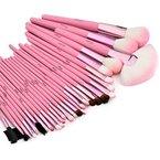 Glow 30 teilig Make-up Pinselset (rosa Etui) + Tasche