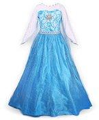 JerrisApparel Prinzessin Kleid Karneval Verkleidung Party Mädchen Kostüm (130, Blau)