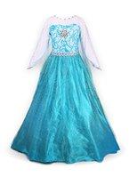 Mädchen Prinzessin Schneeflocke Süßer Ausschnitt Kleid Kostüme, 110, Blau