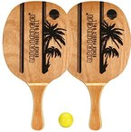 Waimea Beachball Satz Set mit Holzgriff und Ball (Uni||gelb)