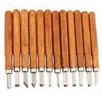 LIVEHITOP 12 Set Carbon Steel Wood Carving-Werkzeuge, DIY Griff Wachs Carving Holzschnitt Craft Stemmeisen Messer für Skulptur. (12 Stück)
