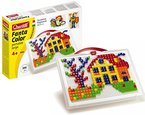 Quercetti 0954 - Mosaik-Steckspiel Fanta Color Portable Small, 300 Stecker in 2 Formen (Dreieck und Quadrat)