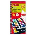 Herlitz 10199933 Schulmalfarben bzw. Deckfarbkasten, 24 Farben inklusive Deckweiß