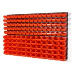 141 teiliges Wandregal Lagerregal Stapelboxen Orange Gr.1 Gr.2 Wandplatten Lager Werkstatt
