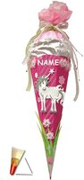 fertig gebastelte Schultüte - Einhorn 85 cm - incl. Namen - mit Holzspitze - Zuckertüte Roth - ALLE Größen - 6 eckig Mädchen Pferde Blumen Einhörner