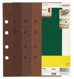 Bosch DIY 25tlg. Schleifblatt-Set verschiedene Materialien für Schwingschleifer (Körnung 60/80/120/240, 8 Löcher)