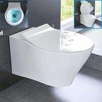 Rimless Wand WC Spülrandlos Keramik Toilette inkl. WC-Sitz mit Soft-Close / Quick Release Funktion