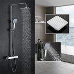 Homelody Duschsystem mit Thermostat Duscharmatur Regendusche Duschstange Duschset Duschkopf Rainshower Duschpaneel Dusche
