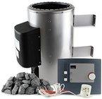 Karibu Saunaofen 3,6 kW mit Steuerung 20 kg Saunasteine 230 V Steckdose Sauna Ofen Energiesparofen mit elektronischer Außensteuerung
