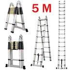 Finether 5M Teleskopleiter Klappleiter ausziehbare Leiter Mehrzweckleiter Aluleiter Ausziehleiter Stehleiter Anlegeleiter aus hochwertigem Alu Teleskop-Design 150 kg Belastbarkeit