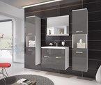 Badezimmer Badmöbel Montreal XL 60 cm Waschbecken Schwarz Hochglanz Fronten - Unterschrank Hochschrank Waschtisch Möbel