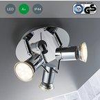 LED Baddeckenleuchte schwenkbar inkl. 3 x 3W Leuchtmittel 230V GU10 IP44 Badezimmer geeignet LED Deckenlampe LED Deckenstrahler LED Badlampe LED Badleuchte LED Deckenspot Badezimmerlampe Wohnzimmer Leuchte Schlafzimmerleuchte Spot LED Strahler Spotleuchte Innenleuchte LED Leuchte Wand Lampe 230v Volt warmweiss Metall chrom EEK A+ 250lm 3 flammig drehbar