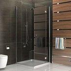 Eck-Dusche Duschkabine Duschabtrennung 90x80x185 ESG Duschkabine mit Glasveredelung Höhe 185 cm