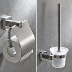 Badaccessoires von BONADE - WC-Garnitur mit Toilettenpapierrollenhalter, austauschbaren Toilettenbürste und Bürstenhalter für Badezimmer, zur Wandmontage