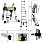 2in1 Stufenleiter - Teleskopleiter PRO 95 cm bis 3,80 Meter aus Aluminium - Norm EN131