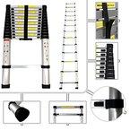 Sotech–Ausfahrbare Leiter Pro, 87cm bis 3,80m, aus Aluminium–Norm EN131