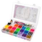 Ultrakidz Loom Starterset - 5400 bunte Gummibänder Sortiment in Regenbogenfarben inkl. Hakennadeln + Anhänger
