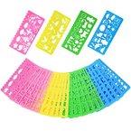 Outus Kunststoff Schablonen Zeichen Form Set für Kinder, 74 Formen, 24 Stück