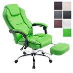 CLP Chefsessel Relaxsessel mit Armlehne CASTLE, belastbar 115 kg, Fußablage ausziehbar, Bürostuhl höhenverstellbar 47 - 57 cm grün