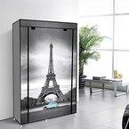 EBS® Tragbare Non Woven Canvas Stoff Kleiderschrank Faltschrank /Lagerung 5 Regale - Eiffelturm 105 x 45 x 158 cm