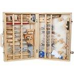 """Werkzeugkoffer """"Deluxe"""" aus Holz, mit 48 Teilen für kleine Heimwerker ab 8 Jahren, das passende Werkzeug für die notwendige Reparatur"""