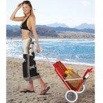 Strandliege mit Sonnendach ROT