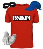 ShirtStreet, PANZERKNACKER Kostüm Set, JGA Karneval Fasching Herren T-Shirt+Cap+Handschuhe+Maske, Größe: L,rot