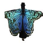 Overdose 197*125CM Frauen Weiche Gewebe Schmetterlings Flügel Schal feenhafte Damen Nymphe Pixie Kostüm Zusatz (197*125CM, Blau)