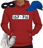 Gangster Kapuzenpullover Kostüm Set für Panzerknacker Fans JGA Karneval Fasching Herren Hoodie+Cap+Handschuhe+Maske, Größe: M,Rot